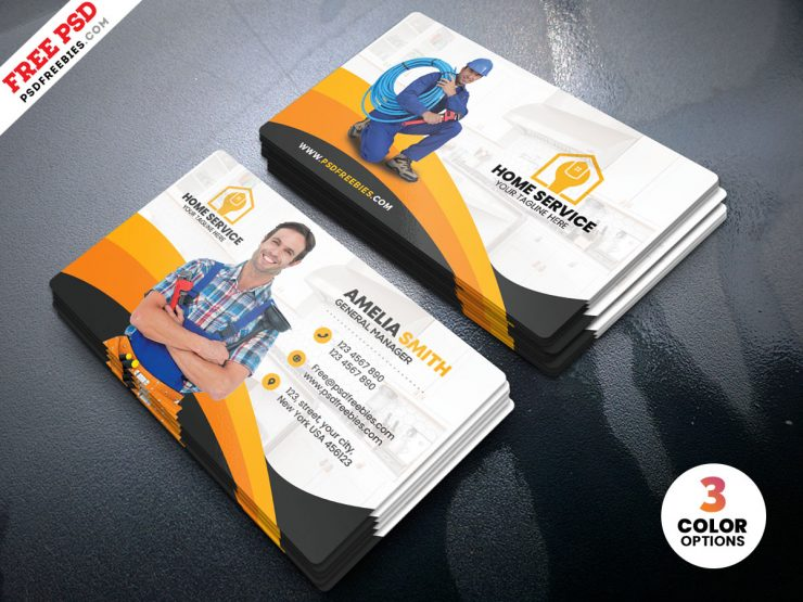 Plumber Business Card PSD Template