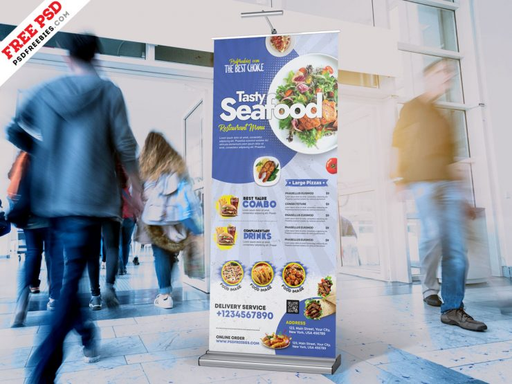 Restaurant Roll Up Banner Stand PSD