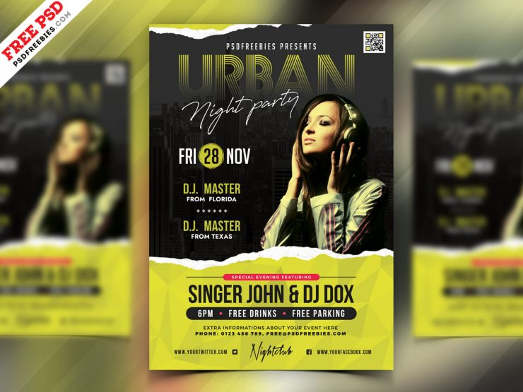 Urban Night Club Party Flyer PSD