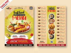 Food Menu Card Design PSD Freebie
