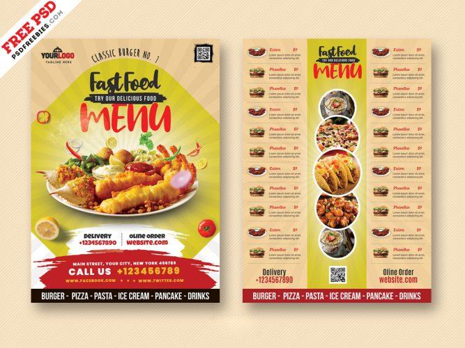 Food Menu Card Design PSD Freebie