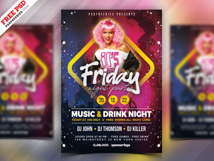 Friday Night Party Flyer PSD