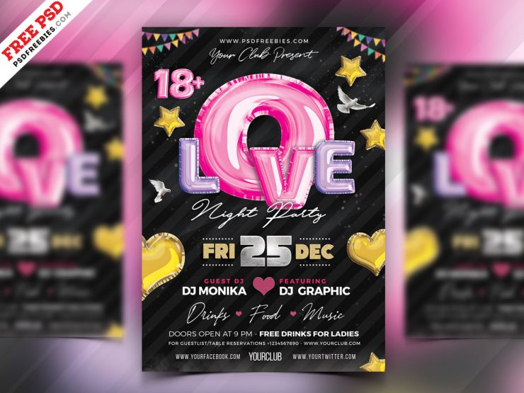 Premium Romantic Music Party Flyer PSD