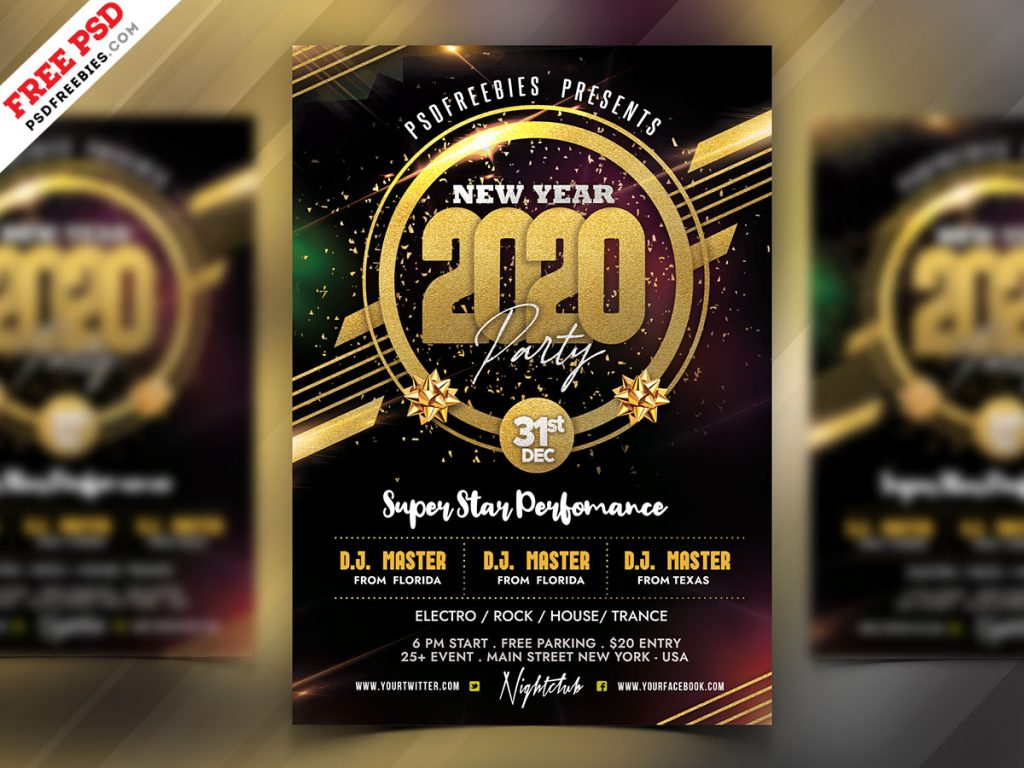 2020 new year party flyer psd