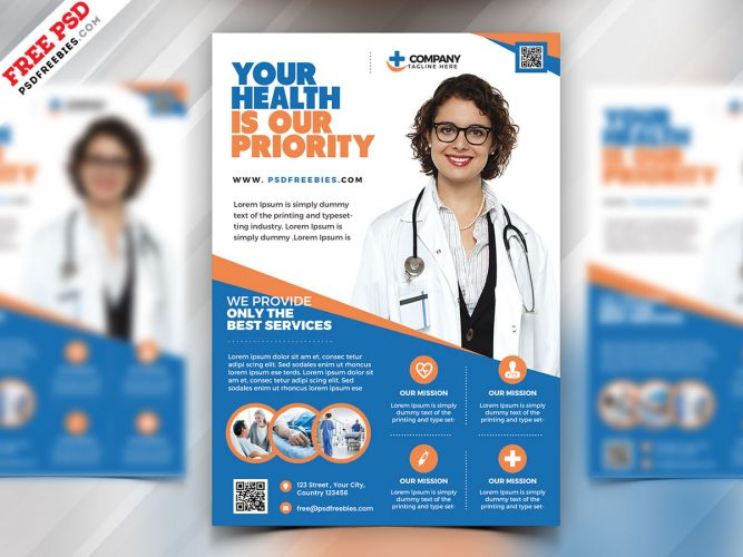Health Care Flyer template PSD