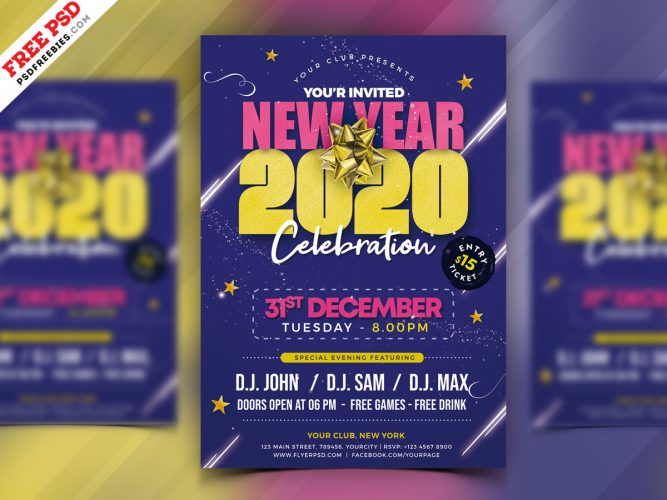 New Year 2020 Party Flyer PSD