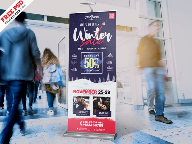 Winter Sale Roll up Design PSD