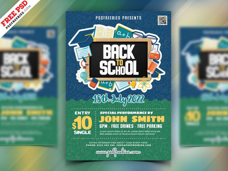 Back to School Party Flyer Design PSD