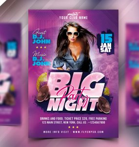 Night Club Party Event Flyer PSD