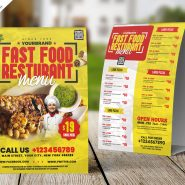 Restaurant Menu Tent Card PSD Template
