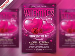 Valentine's Day Celebration Flyer PSD