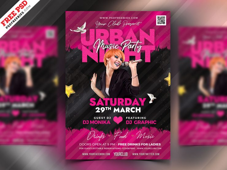 Urban Party Club Flyer PSD Template