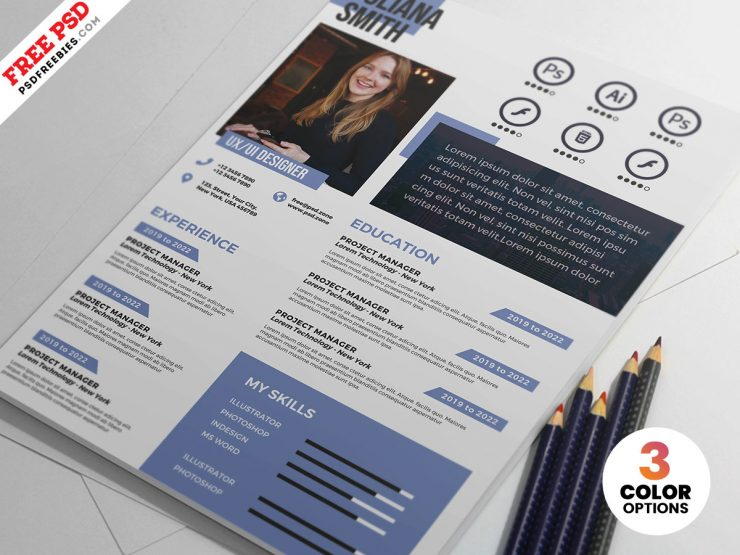 A4 Size Creative Resume PSD Template