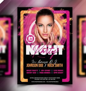 Awesome Music Party Flyer PSD
