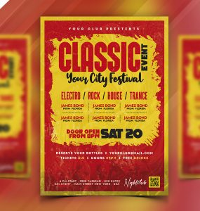 Classic Music Event Party Flyer PSD