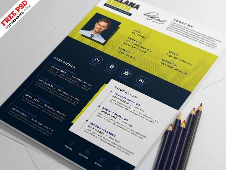 Clean Modern Resume CV PSD Template
