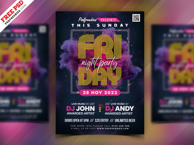 Friday Night Club Party Flyer PSD