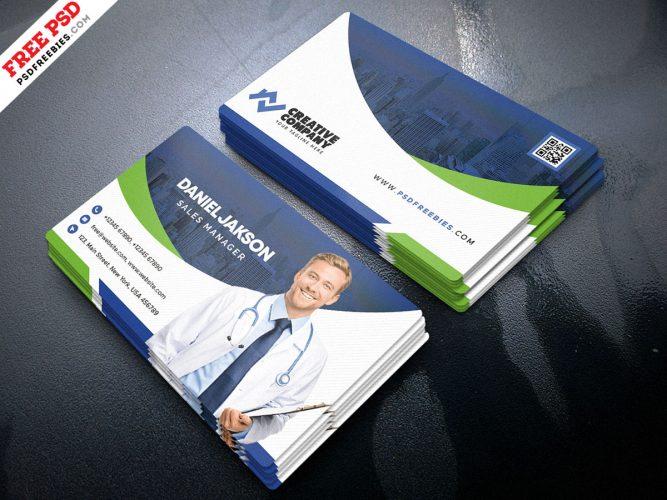 Hospital and Health Care Business Card PSD