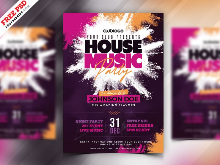 House Music Party Flyer Design PSD