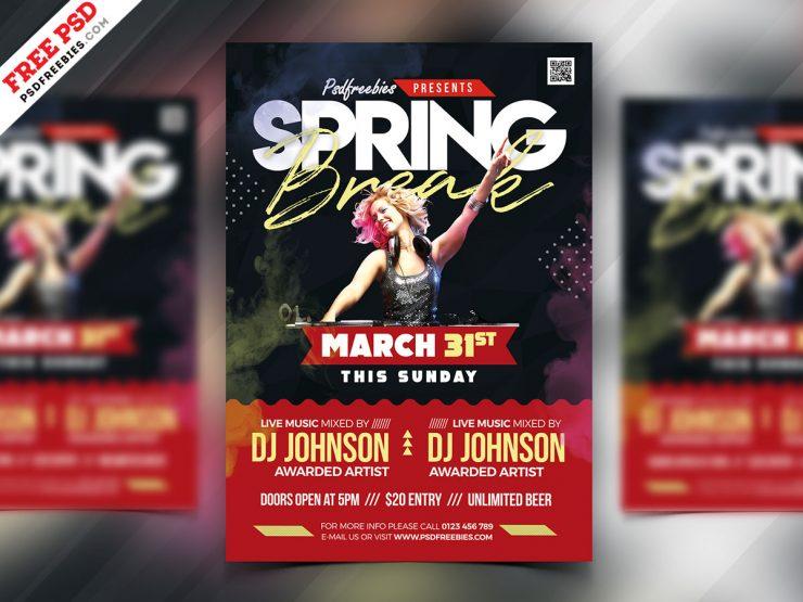 Spring Break Party Flyer PSD