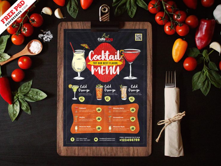 Cocktail Menu Design PSD Template