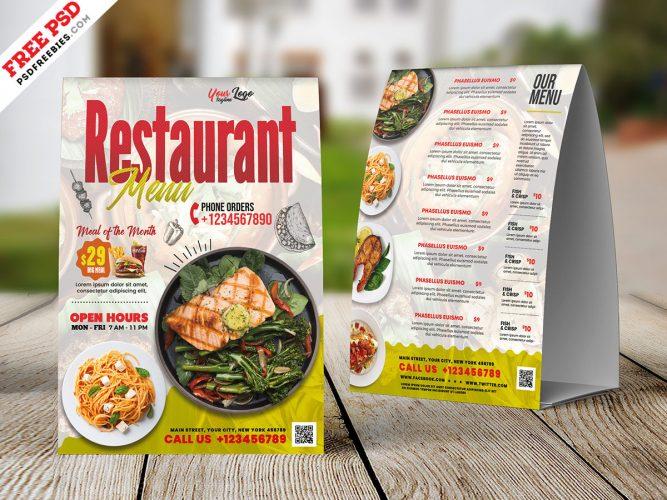 Restaurant Food Menu Tent Card Layout PSD