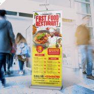 Restaurant Roll Up Standee Banner PSD