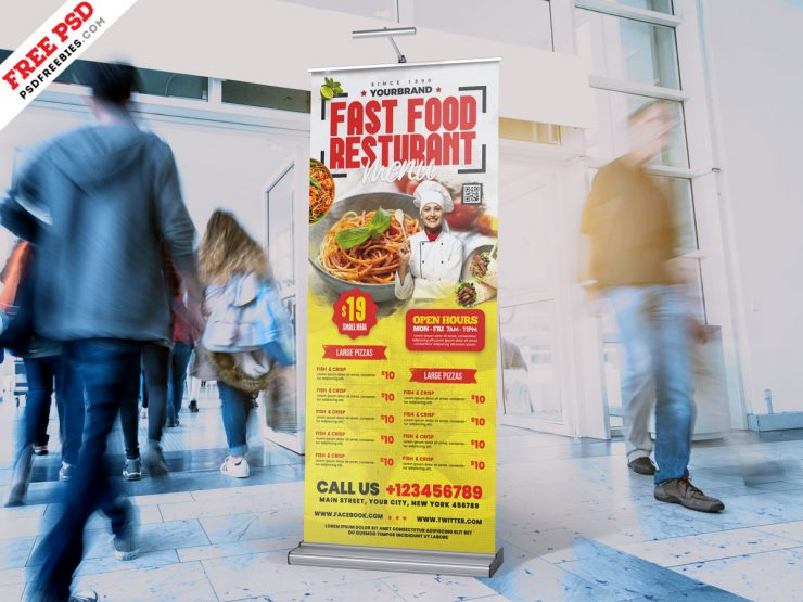 Restaurant Roll Up Standee Banner PSD