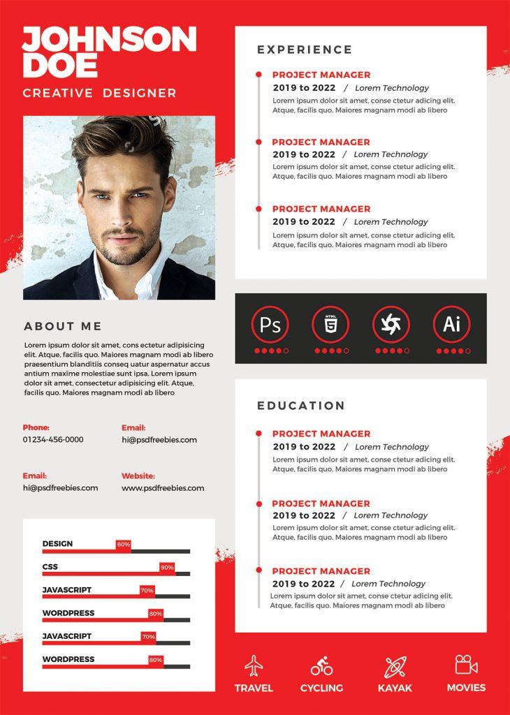A4 Size Designer Resume Psd Template Psdfreebies Com