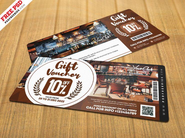 Cafe Gift Voucher Design PSD