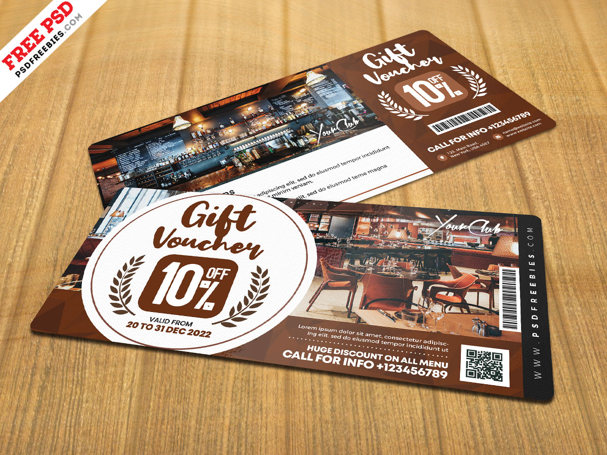 cafe gift voucher design psd  psdfreebies