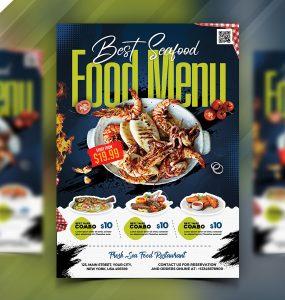 Seafood Restaurant Menu Flyer PSD