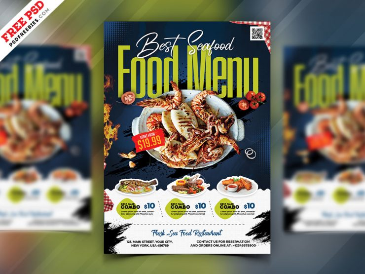 Seafood Restaurant Menu Flyer PSD