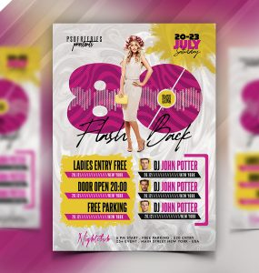 80s Theme Music Party Flyer PSD