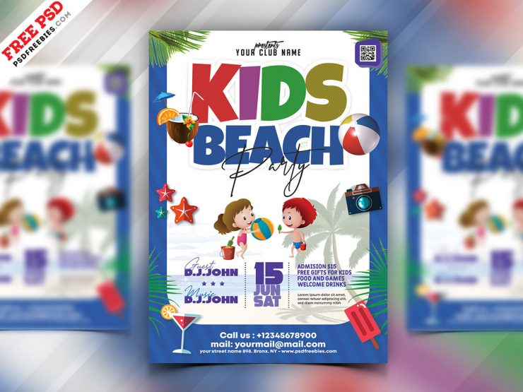 Kids Beach Party Flyer PSD