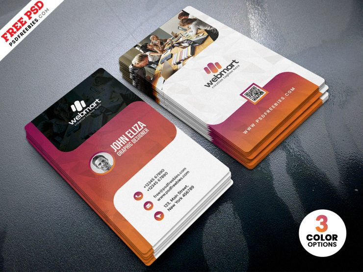 Vertical Creative Business Card Design PSD