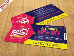 Beautiful Discount Coupons Template PSD