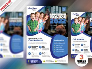 Kids School Admission Flyer PSD Template