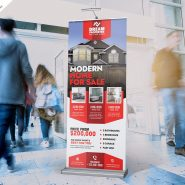 Real Estate Advertising Roll Up Banner PSD