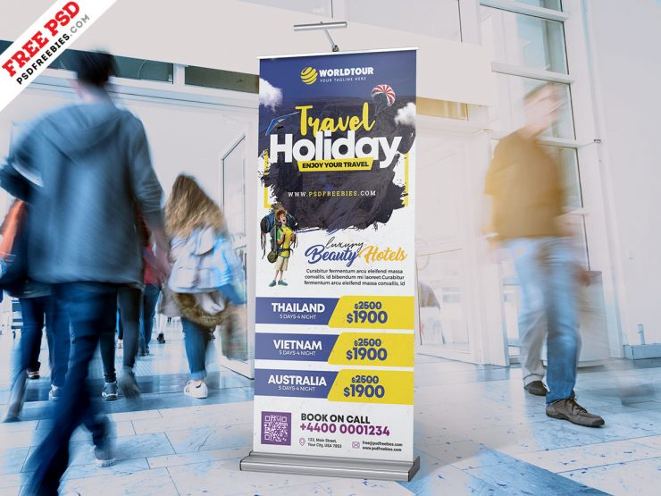 Tour and Travel Roll Up Banner PSD