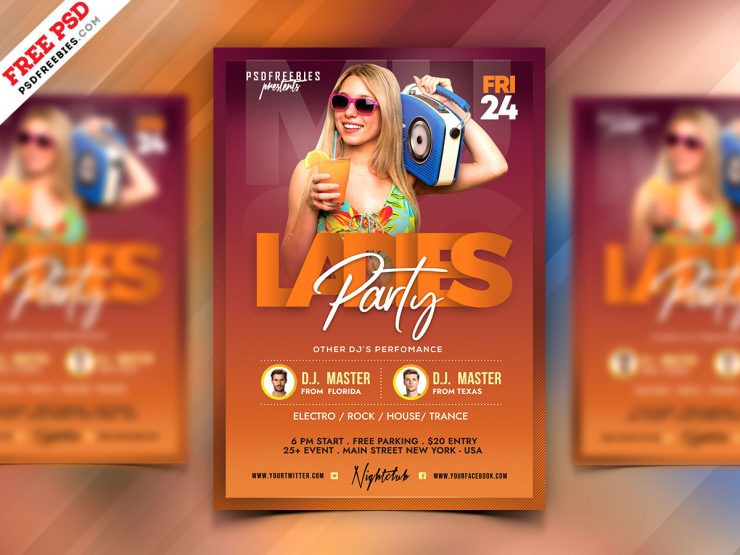 Beautiful Girls Night Party Flyer PSD