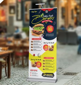 Creative Restaurant Shop Roll-Up Banner PSD
