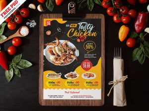 A4 Size Restaurant Food Menu PSD Template