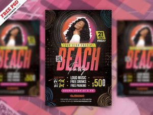 Colorful and Designer Beach Party Flyer PSD