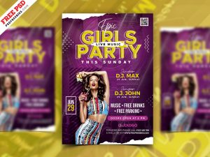 Girls Night Party Flyer PSD