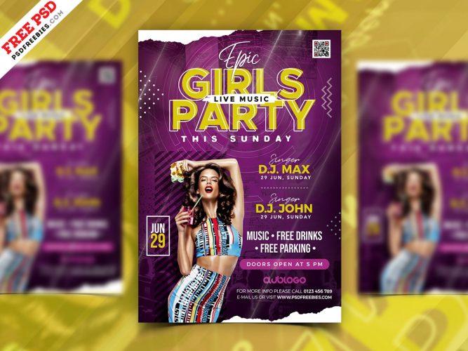 Girls Night Party Flyer PSD