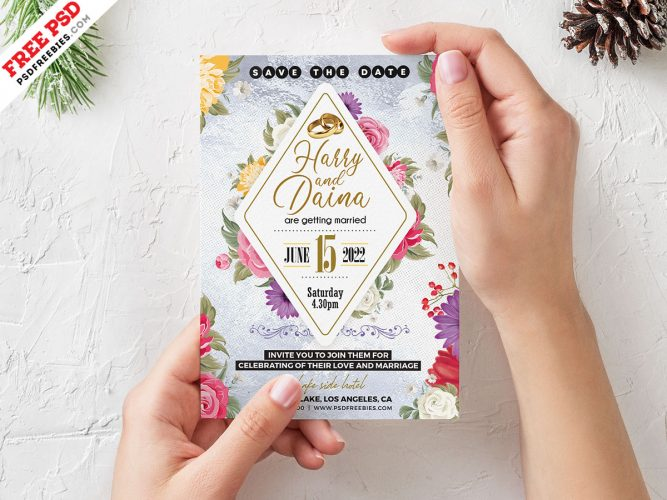 5x7 Designer Wedding Invitation Card PSD Template