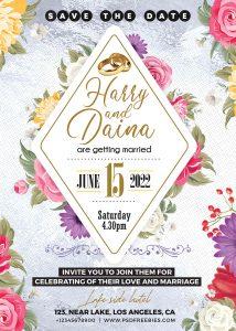 5x7 Designer Wedding Invitation Card PSD Template