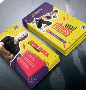 Designer Gym Trainer Business Card PSD Template