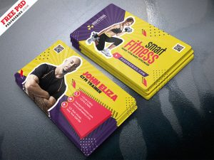 Designer Gym Trainer Business Card PSD Template